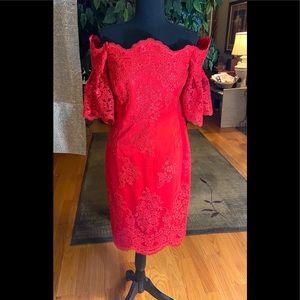 Badgley Mischka Red Cocktail Dress